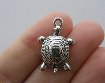 BULK 20 Tortoise charms antique silver tone FF259