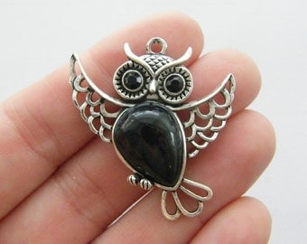 BULK 5 Owl pendants antique silver tone O81  - SALE 50% OFF