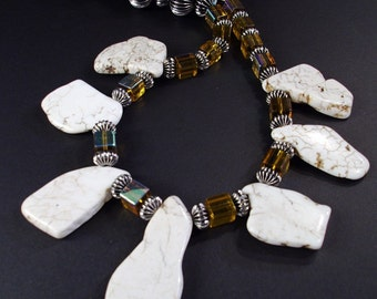 Large White slab Turquoise, large Amber mirrored crystals, and silver bead Necklace OOAK