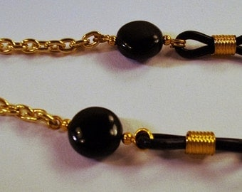 Black Onyx Discs and Gold Chain Eyeglass Lanyard