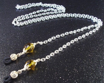 Topaz  faceted crystals and silver chain eyeglass lanyard necklace November birthstone color