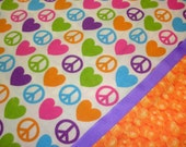 Handmade Cotton Pillowcases - Peace Signs and Hearts - Set of 2 - Pink, Blue, Green, Orange - Bridal Shower, Valentine or Birthday Gift