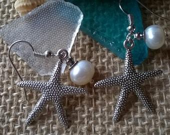 Starfish Earrings,Starfish and Pearl Earrings,Tropical Jewelry,Nautical,Boho Jewelry