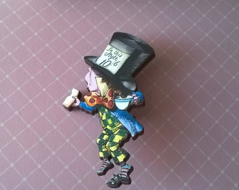 Alice in Wonderland Mad Hatter Brooch,Handmade Pin,Accessories,Alice in Wonderland Jewelry,Mad Hatter Brooch