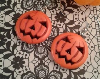 Jack O Lantern Pumpkin Earrings