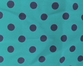 Vintage 40s Rayon Crepe Polka Dot Fabric Green Blue 2 yards