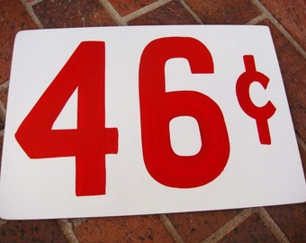 46 Cent Price Tag Sign - Primitive Price Sign - Large