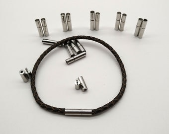 Cord Clasp 6 sets 3mm Round Hole Leather Cord Ends Cord Clasps Latching Tube Clasp