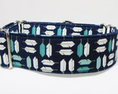 """1.5"""" Feather Martingale Navy Teal Turquoise 3/4"""" 1"""" 2""""Martingale, 2""""Martingale pit bull great dane whippet greyhound collar Iggy's Designs"""