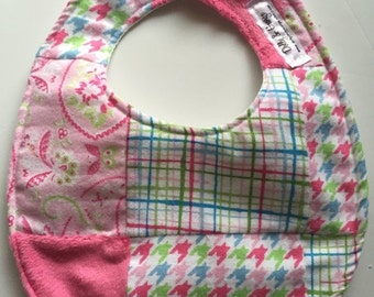SALE Pink Minky and Soft Cuddle Patchwork Baby Bib 240260467