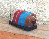 Men's Toiletry Bag,  Dopp Kit Wide Indigo Stripe Handwoven Canvas, Blue Striped Toiletry Kit, Gift for Men, Travel Gift