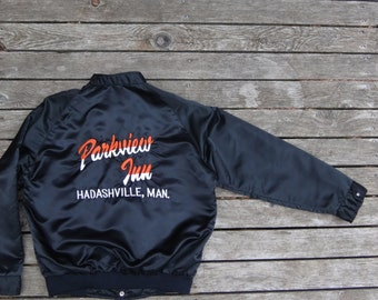 1980's black satin bomber jacket, men's size XL