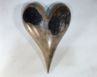 Myrtle wood heart wall hanging Love you more Anniversary gift by Gary Burns the treewiz handmade woodworking