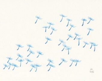Botanical art - Dandelion - Small original illustration on paper - Limited edition