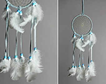 Vintage Petite Feathered Dreamcatcher - Tribal Native American Feather Boho Bohemian Blue White Wall Hanging Home Decor Beaded Dream Catcher