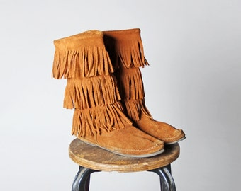 Vintage Brown Suede Leather Minnetonka Tall Fringe Boots- Ankle Boot Shoes Knee Hight Flat Moccasin Shoe- Size 9 or 9 1/2
