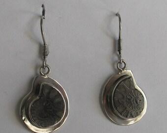 Vintage ammonite sterling silver earrings