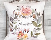 Pillow Cover Thanksgiving Floral Thankful