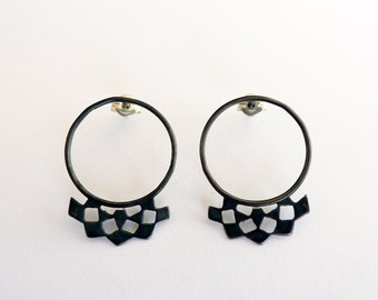 Black Mashrabiya Ring Studs No 3. Hand Made Black Silver Lace Earrings. Modern Geometry Architecture Inspired Design. Abstract Black Studs.