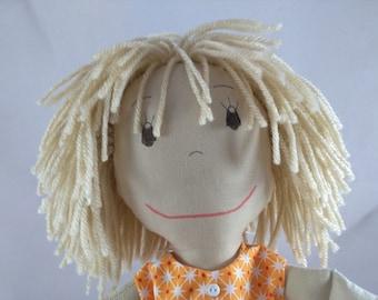 Soft Rag Doll, Light Brown hair Rag Doll,Removable Clothes,Rag Doll,Fabric Doll, Stuffed Doll,Plush Doll, Rag Dolls, Custom Rag Doll