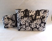 Silhouette Cameo Carrying Bag with Laptop - Accessory Bag / Combo Set/ Cricut Expressions Carrying Case / Black and White Damask Print