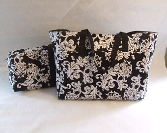 Silhouette Cameo Carrying Bag with matching  Accessory Bag / Combo Set/ Cricut Expressions Carrying Case / Black and White Damask Print