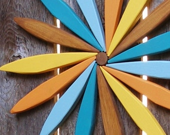 "Starburst Swirl Rustic Wooden Wreathl! - Colorful 17"" Wall Hanging for Outdoor & Indoor Decor - Choose Your Favorite Stain Colors!"