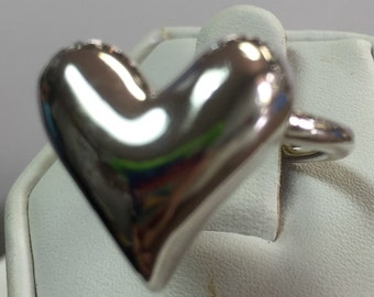 Puffy Heart Sterling Silver Ring Size 7