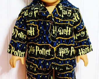 HARRY POTTER Flannel Pajamas fits 18inch Dolls - Proudly Made in America by mamastwinsees