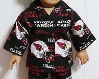 "ARIZONA CARDINALS Pajamas Fits 18"" Dolls  - Proudly Made in America"