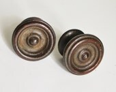 Pair of Vintage Wood Drawer Pulls Grooved Knobs