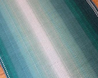 Cotton Rag  Rug 3 x 5 / Aqua Green Ombre Rug / Machine Washable Rug