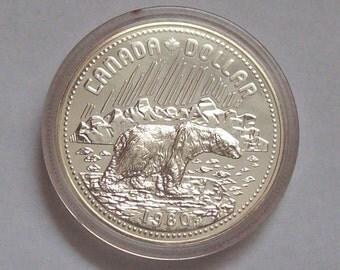1980 Polar Bear Canadian Silver Dollar