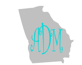 Large Georgia state with monogram or home vinyl car decal