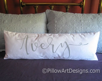 Personalized Name Large Lumbar Pillow Cover White Cotton 12 X 36 Long Wide Lumbar Made in Canada
