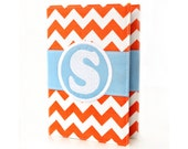 Orange Chevron Personalized Journal - You select, fabric, frame, and font - Monogrammed sketchbook - Personalized gift - Lined journal