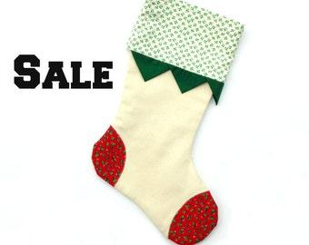 Christmas stocking, canvas stocking, family stocking, white red green patchwork, cottage chic, holiday stocking, hanging stocking