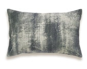 Charcoal Black Slate Gray Beige Lumbar Pillow Cover 12x18 inch Natural Linen One Of A Kind