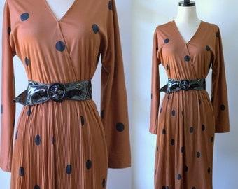 Vintage 1970s Dress 70s Clothing Womens 70s Disco Clothing Polka Dot Dress Cocktail Dress Slinky Disco Dress  1970s Fashion Boho Fashion SM