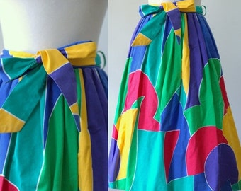 Vintage Midi Skirt 1980s Clothing Womens Skirts Pleated Midi Skirt Abstract Print Skirt 1980s Skirts for Women Bright Geometric Print SM MED