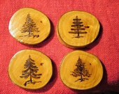 4 wood burned COASTERS