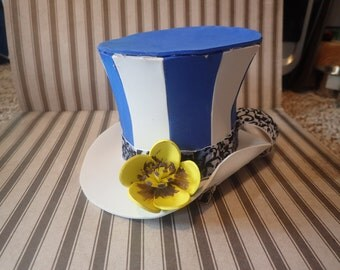 Mini Top Hat Blue and white striped hat accessory w hair clips yellow rose flower