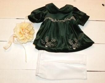 Dark Green Velvet Dress and White Leggings  or Socks - 16 - 17 inch doll clothes
