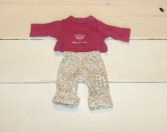Dusky Rose Tshirt and Grey and White Patterned Pants - 12 inch doll clothes