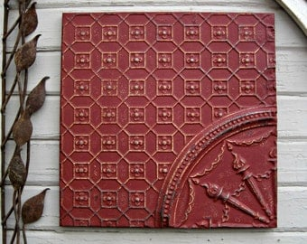 Antique Ceiling Tin Tile, FRAMED & Ready to Hang. Large red metal wall art. French country decor. Vintage Oklahoma architectural salvage.