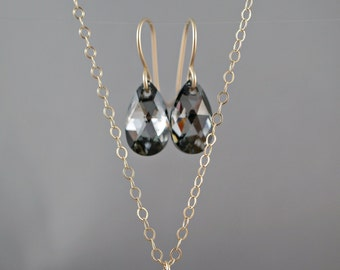 Bridesmaid Jewelry Sets Necklace Earrings Swarovski teardrop crystals Golden Shadow teardrop Sterling silver or Gold filled Pendant necklace