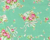50% off Sale Yuwa Fabric - Hat Boxes, Ribbons and Letter Envelopes on Mint Green - Atsuko Matsuyama 30s collection - Pink - Japanese Import