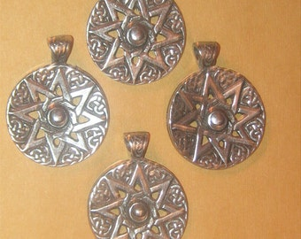Wholesale Lot Of 4 - 30MM Pewter Eight Pointed Ishtar Star Pendants Charms