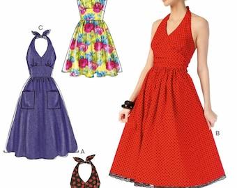 Sundress Pattern, Halter Top Dress Pattern, McCall's Sewing Pattern 7157