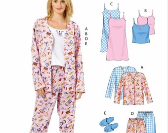 Misses' Camisole Nightgown Pattern, Women's Pajama Pattern, Slide Slippers Pattern, McCall's Sewing Pattern 4979